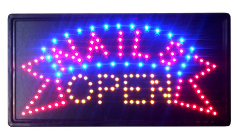 """Constructor""  Nails Open Sign 10""x19"" Animated LED Neon Light, 2 On/Off Switches + Chain - DSD Brands"