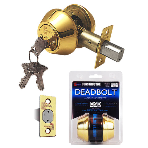 """Deadbolt"" Door Lock Set with Double Cylinder, Finish: Polished Brass - DSD Brands"