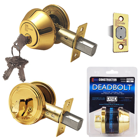 """Deadbolt"" KEYED ALIKE, Door Lock Set with Single Cylinder, Finish: Polished Brass - DSD Brands"
