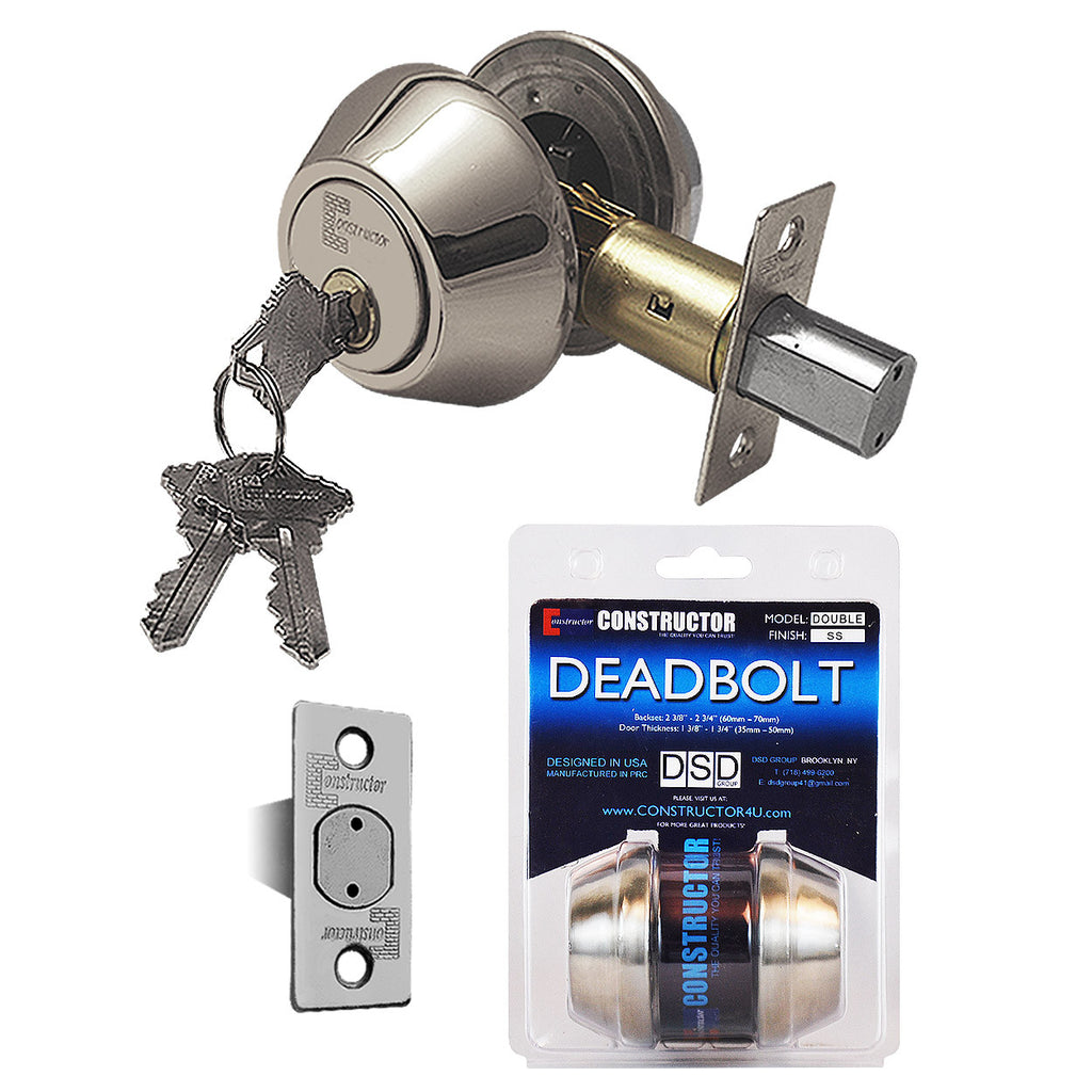 """Deadbolt"" Door Lock Set with Double Cylinder, Finish: Satin Nickel - DSD Brands"