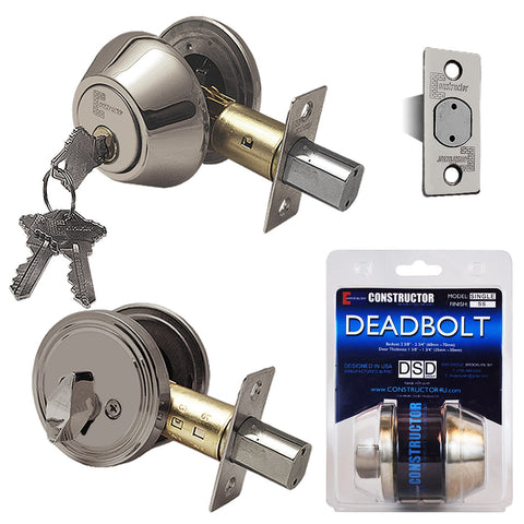 """Deadbolt"" Door Lock Set with Single Cylinder, Finish: Satin Nickel - DSD Brands"