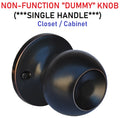 Constructor CHRONOS Decorative Dummy Knob Handle for Hallway or Closet Oil Rubbed Bronze Finish