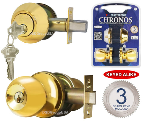 """Chronos"" Combo Entry and Deadbolt Single Cylinder, Keyed-Alike, Polished Brass Finish, Door Lever Lock Set, Knob Handle Set - DSD Brands"