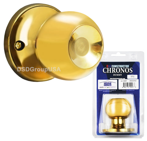 """Chronos"" Dummy Polished Brass Finish, Door Lever Lock Set Knob Handle Set - DSD Brands"