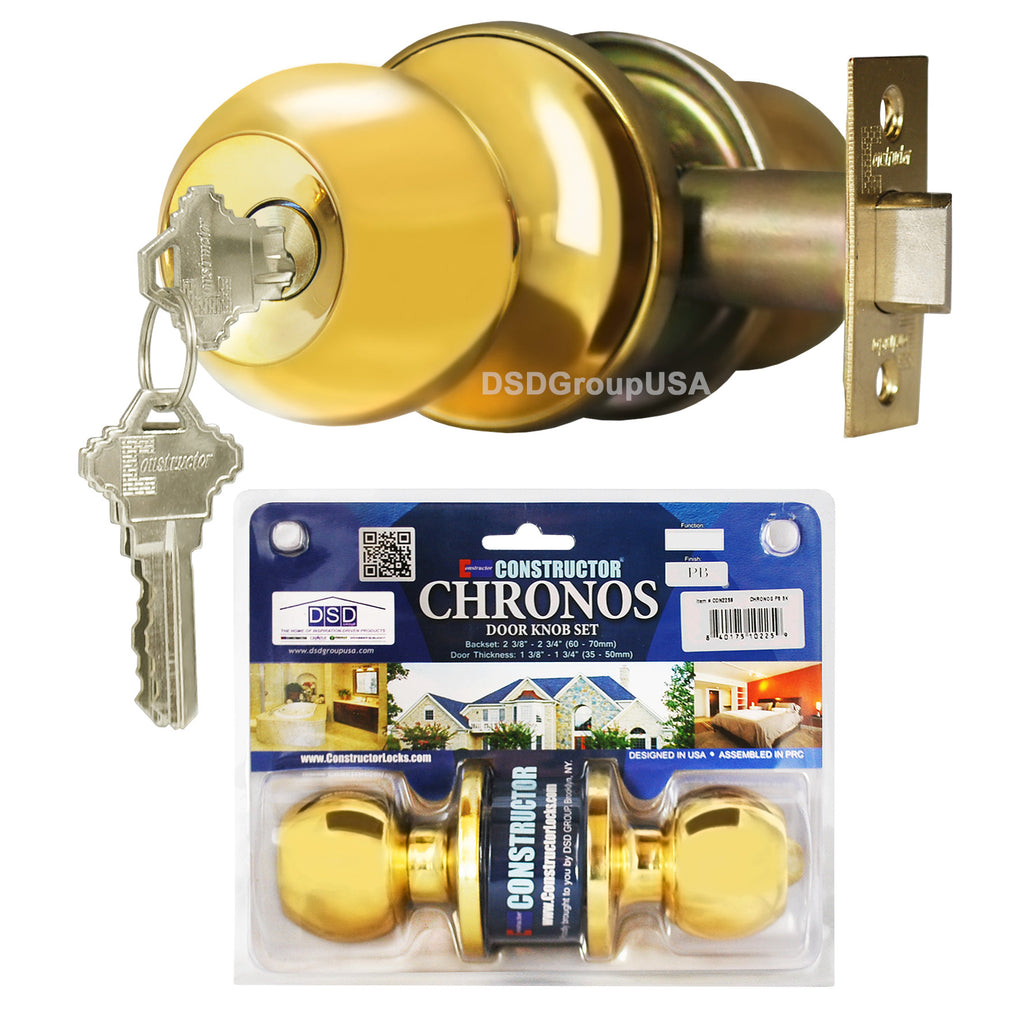"""Chronos"" KEYED ALIKE, Entry Polished Brass Finish, Door Lever Lock Set Knob Handle Set - DSD Brands"