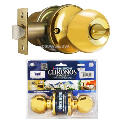 """Chronos"" Privacy Polished Brass Finish, Door Lever Lock Set Knob Handle Set - DSD Brands"