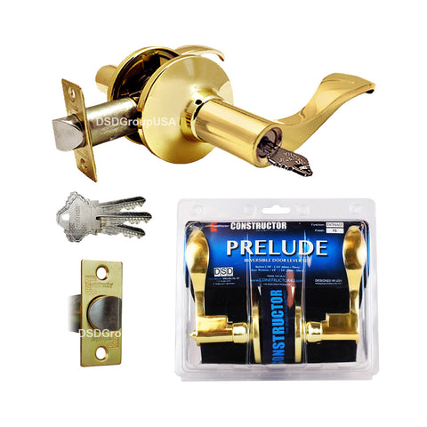"""Prelude"" Entry Lever Door Lock with Knob Handle Lockset, Polished Brass Finish - DSD Brands"