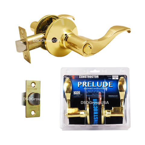 """Prelude"" Privacy Lever Door Lock with Knob Handle Lockset, Polished Brass Finish - DSD Brands"