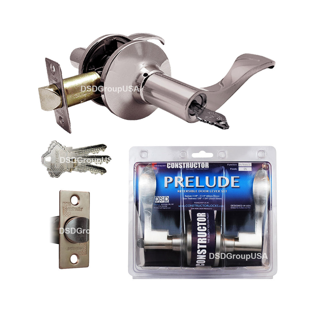 """Prelude"" KEYED ALIKE, Entry Lever Door Lock with Knob Handle Lockset, Satin Nickel Finish - DSD Brands"