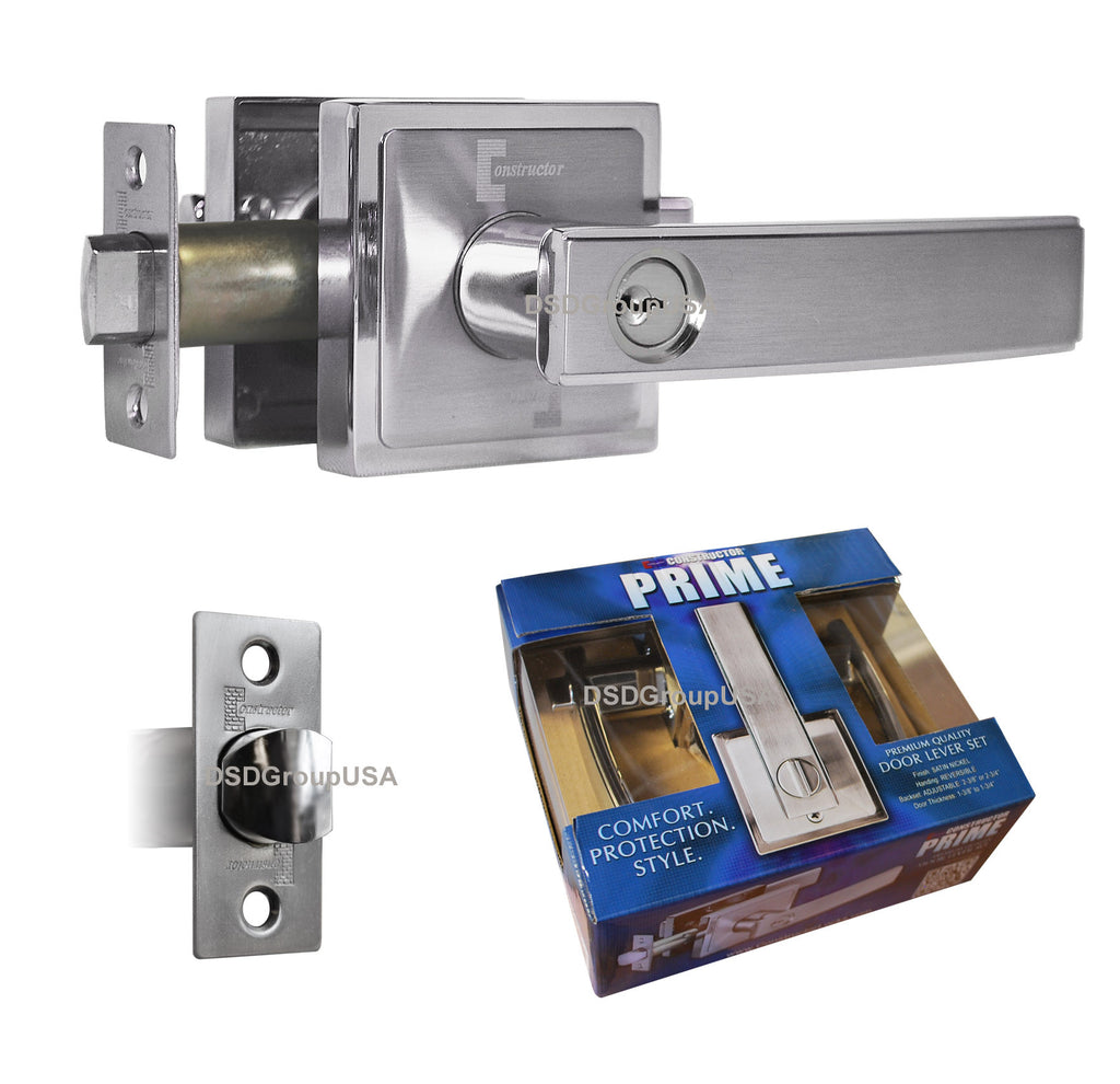 """Prime"" Entry Lever Door Lock Satin Nickel Finish Knob Handle Lockset - DSD Brands"