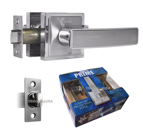 """Prime"" Passage Lever Door Lock Satin Nickel Finish Knob Handle Lockset - DSD Brands"