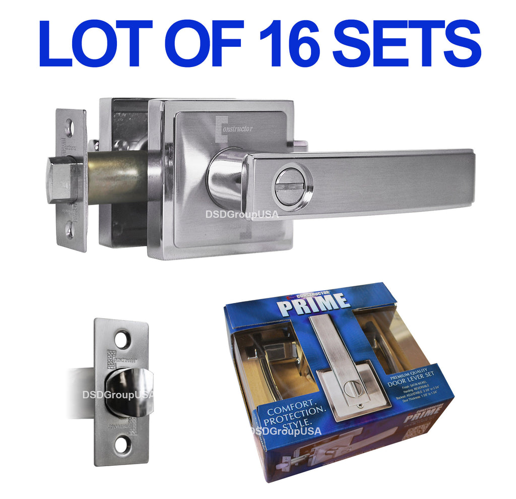 Wholesale Door Lock Sets Handle Entry Passage Privacy Square Locks Satin Nickel - DSD Brands