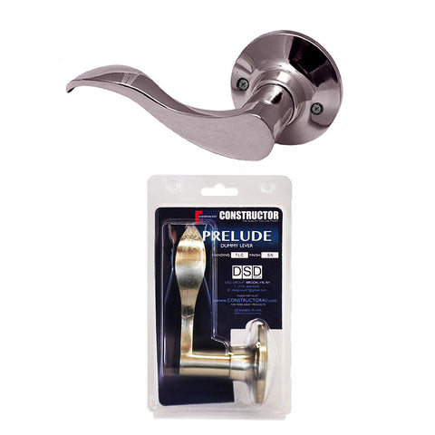 """Prelude"" Dummy Left, Lever Door Lock with Knob Handle Lockset, Satin Nickel Finish - DSD Brands"