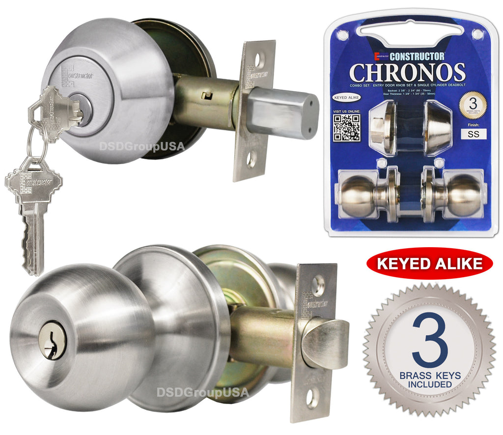 """Chronos"" Combo Entry and Deadbolt Single Cylinder, Keyed-Alike, Stainless Steel Finish, Door Lever Lock Set, Knob Handle Set - DSD Brands"
