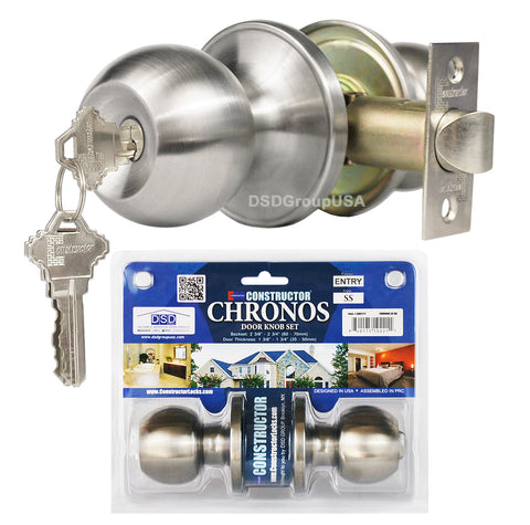 """Chronos"" KEYED ALIKE, Entry Stainless Steel Finish ,Door Lever Lock Set Knob Handle Set - DSD Brands"