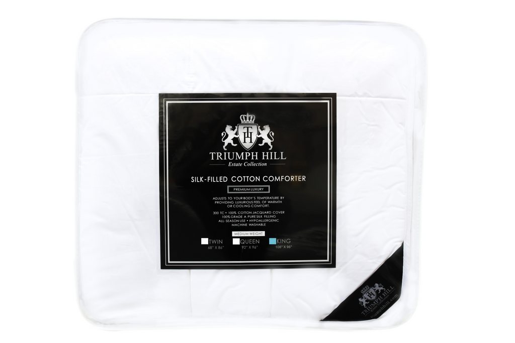 Triumph Hill 100% Mulberry Silk 100% Jacquard Cotton Case Medium Weight Bed  Comforter King Size