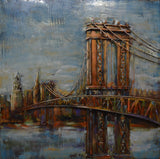 Modern Metal Art Wall Sculpture Home Decor Brooklyn Bridge - DSD Brands