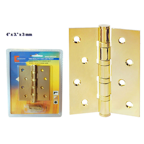 "CONSTRUCTOR Polished Brass 4"" x 3"" Door Hinge Ball Bearing - DSD Brands"