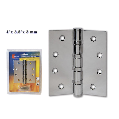 "CONSTRUCTOR Polished Chrome Door Hinge Ball Bearing 4"" x 3.5"" - DSD Brands"