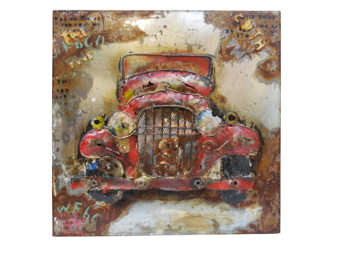 Modern Metal Art Wall Sculpture Home Decor Old Red Car - DSD Brands