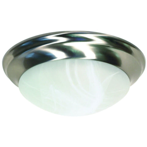 "Flush Mount Two-Light Ceiling Fixture with Alabaster Twist-Lock Glass, 14"", Brushed Nickel"