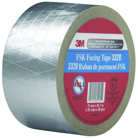 "3320 FSK Facing Tape, 2.83"" X 50 Yd., Silver"