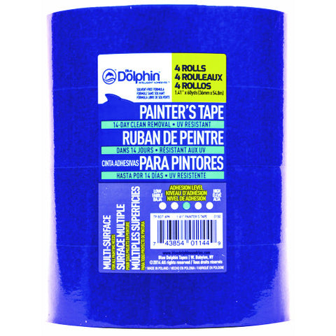 "Blue Dolphin䋢 Painter's Tape, 1-1/2"", Blue, 1.41"" X 60 Yd., 4 Rolls per Pack"