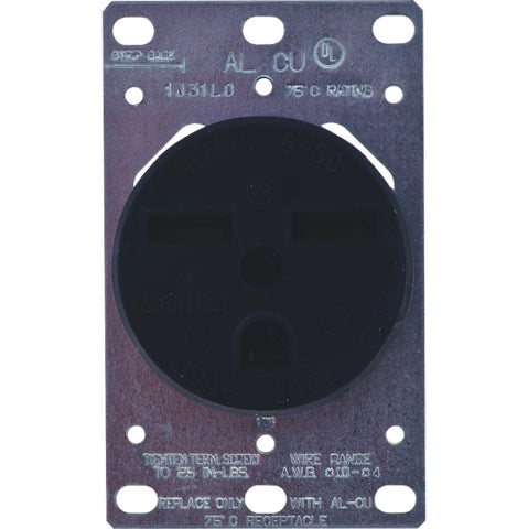 Receptacle Flush Mount 30 Amp 250V 2-Pole 3-Wire