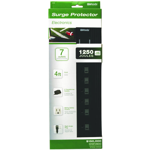 Coleman Cable 7 Outlet Surge Protector, 4'