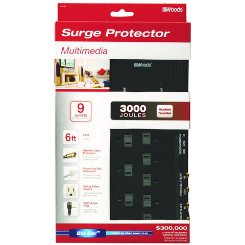 Coleman Cable 9 Outlet Surge Protector with Phone and Coaxial Cable Protection, 6'