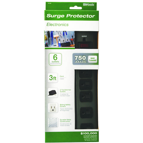 Coleman Cable 6 Outlet Metal Surge Protector, 3'