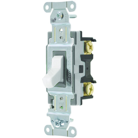 Hubbell Commercial Specification Grade Toggle Switch, 15 Amp, Single Pole, White