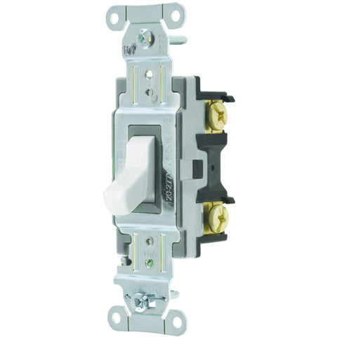 Hubbell Commercial Specification Grade Toggle Switch, 15 Amp, 3 Way, White