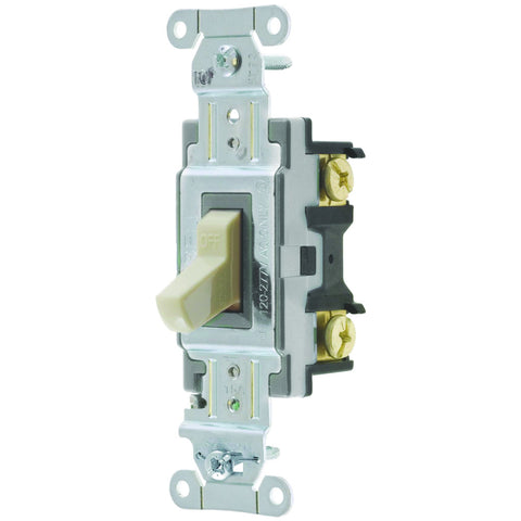 Hubbell Commercial Specification Grade Toggle Switch, 15 Amp, 3 Way, Ivory