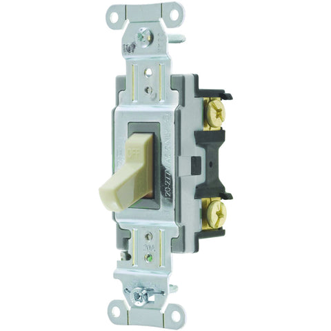 Hubbell Commercial Specification Grade Toggle Switch, 20 Amp, 3 Way, Ivory