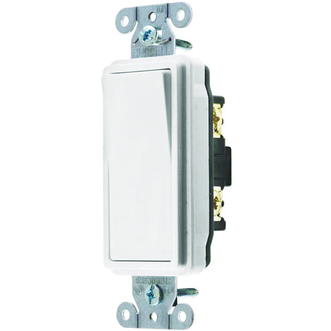 Hubbell Specification Grade Decorator Rocker Switch, 15 Amp, 3 Way, White