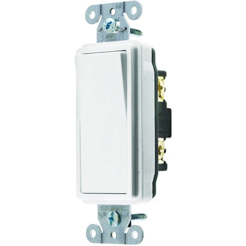 Hubbell Specification Grade Decorator Rocker Switch, 20 Amp, Single Pole, White