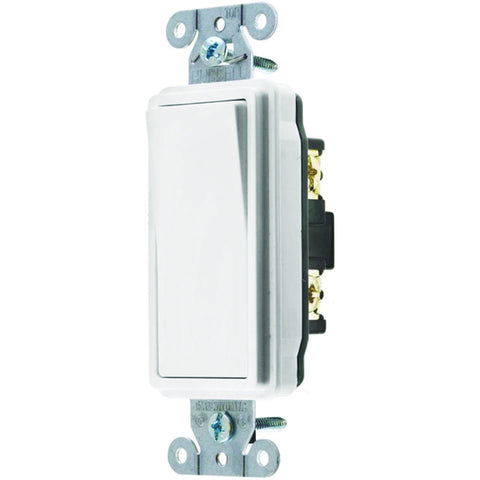 Hubbell Specification Grade Decorator Rocker Switch, 20 Amp, Double Pole, White