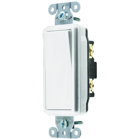 Hubbell Specification Grade Decorator Rocker Switch, 20 Amp, 4 Way, White