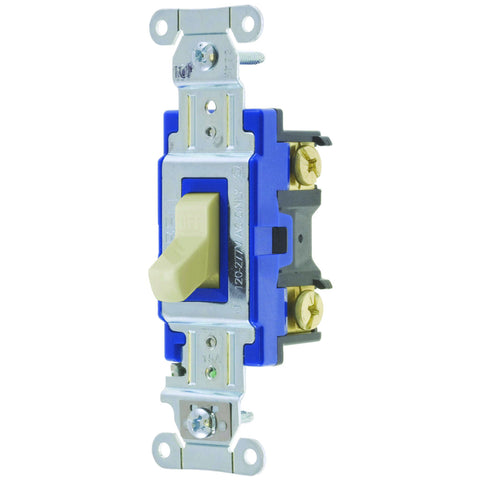 Hubbell Pro Series Toggle Switch, 15 Amp, 3 Way, Ivory