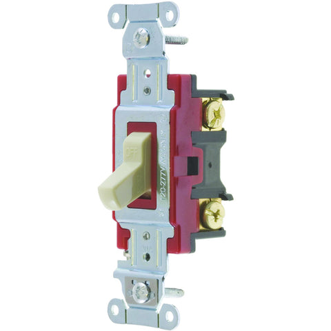 Hubbell Pro Series Toggle Switch, 20 Amp, 4 Way, Ivory