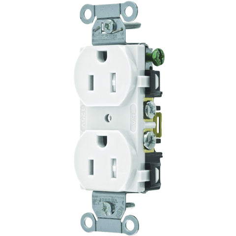 Hubbell Commercial Industrial Grade Tamper Resistant Duplex Receptacle, 15 Amp, White
