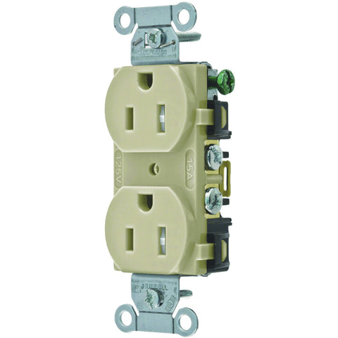 Hubbell Commercial Industrial Grade Tamper Resistant Duplex Receptacle, 15 Amp, Ivory
