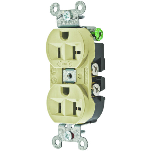 Hubbell Commercial Industrial Grade Dulex Receptacle, 20 Amp, Ivory