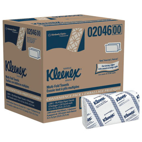 "9.2"" x 9.4"" White Kleenexå¨ Multifold Paper Towels (200 per Pack)"