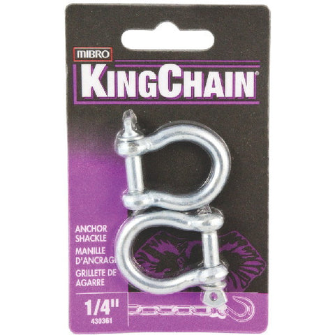 Anchor Shackle, Zinc, 1-4 In., 2 Per Card
