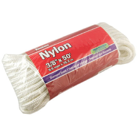 "Nylon Diamond Braid, White, 3/8"" X 50'"