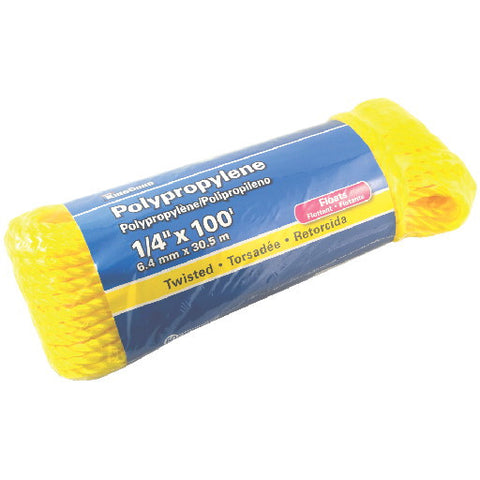 "Polypropylene Twisted, Yellow, 1-4"" X 100'"