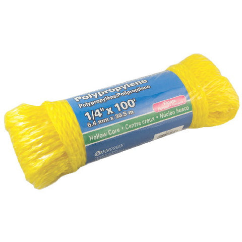 "Polypropylene Hollow Core, Yellow, 1-4"" X 100'"