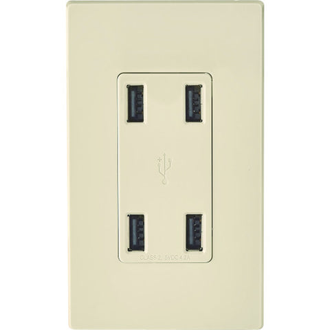 Usb Charging Receptacle, 4 Port, Light Almond